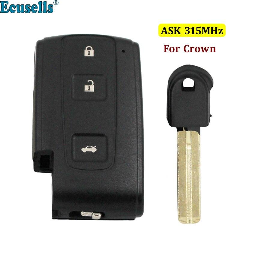 Porte-clés à distance 315 MHz à 3 boutons ASK pour Toyota Crown 0030 clé à insérer non coupée TOY48
