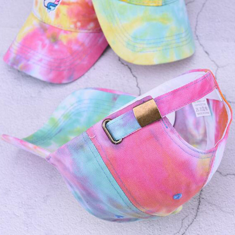 NEW Girls Kids Pink Rainbow Unicorn Baseball Cap Sun Hat