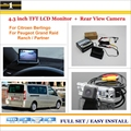 "For Citroen Berlingo For Peugeot Grand Raid / Ranch / Partner Car Reverse Rear Camera + 4.3"" LCD Monitor = 2 in 1 Parking System"