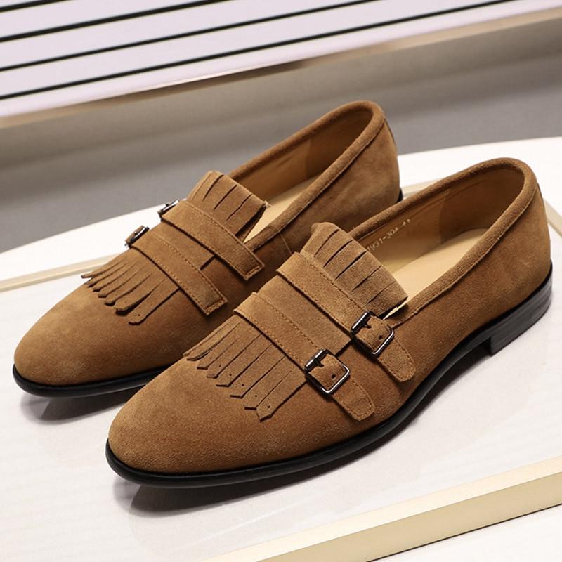 أزياء الرجال جلد الغزال حذاء بدون كعب الشارع نمط الانزلاق على أسود براون الأزرق مشبك الراهب حزام الرجال الزفاف حزب اللباس أحذية-في أحذية رجالية غير رسمية من أحذية على  مجموعة 1
