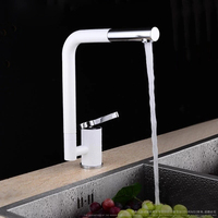Pull Out Rotary Solid Brass White Baking Chrome Finished Kitchen Sink Faucet Hot And Cold Water
