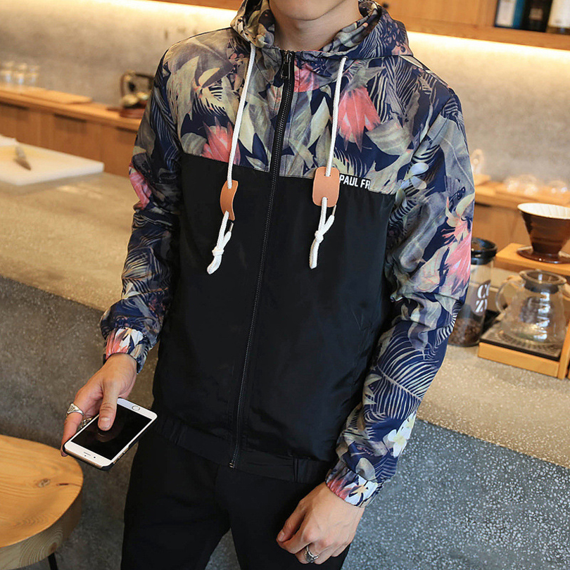 2016 Autumn <font><b>Printing</b></font> Male Hooded <font><b>Jackets</b></font> Casual Thin Windbreaker <font><b>Jacket</b></font> Men Fashion Pathchwork Design chaqueta hombre Tide