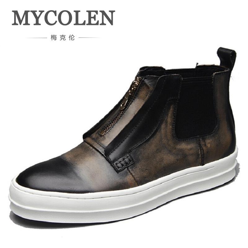 MYCOLEN Genuine Leather Shoes Retro Designer Brand Men Winter Boots Black Brown Zipper Basic Leather Martin Boots Chuteira