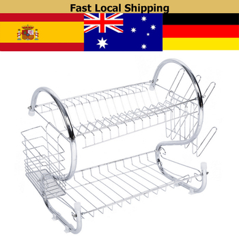 2 Tiers Dish Rack Home Drying Drainer Holder Organizer Stainless Steel Plated iron