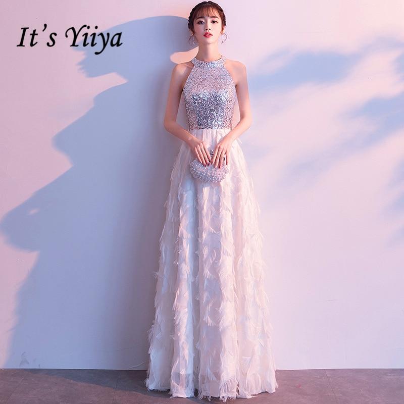4384 45 De Descuentoes Yiiya Vestido De Noche Halter Brillante Lentejuelas Vestidos Formales De Boda Plata Sin Mangas Plumas Diseño Largo Vestido