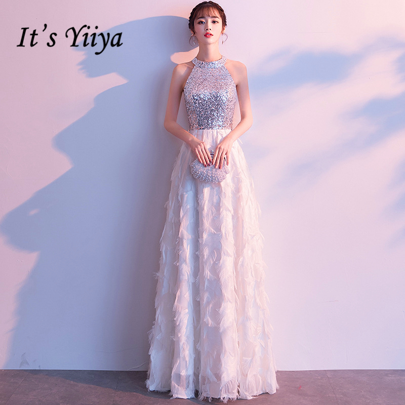 It's YiiYa   Evening     Dress   Halter Shining Sequined Wedding Formal   Dresses   Sliver Sleeveless Feathers Design Long Party Gown E337
