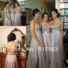 Бесплатная доставка новое прибытие серебристо-серый цвет линия крышка втулки аппликация длина пола длиннее шифоновое платье невесты BD043