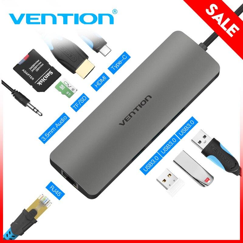 Vención de La USB-C HUB tipo C HUB USB 3,0 Thunderbolt 3 HDMI 3,5mm de Audio de RJ45 Gigabit Ethernet Adaptador SD /TF lector de tarjeta USB C