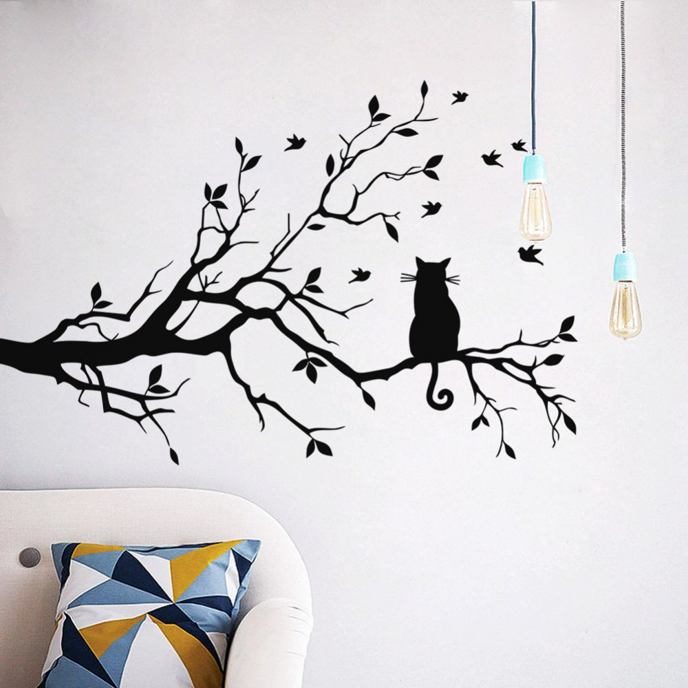 cute black cat on tree silhouette wall sticker decal dreamlike ... for Wall Sticker Tree Silhouette  588gtk