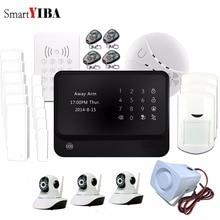 SmartYIBA APP Control 720P WiFi HD IP Camera WiFi GSM SMS Alarm+RFID Keypad Smoke Siren Local Alarm Home Intruder Alarm System