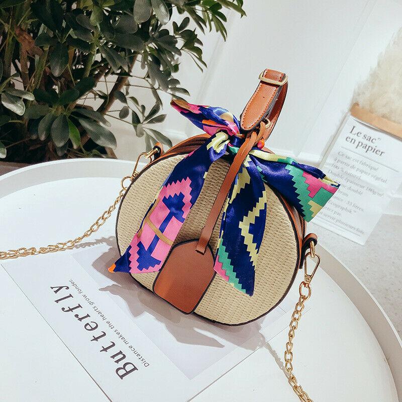 New Women Bag Rattan Straw Shoulder Bag For Lady Woven Round Messenger Handbag Fashion Travel Beach Purse Lovely