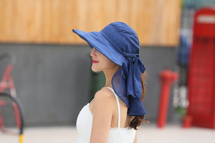 Защита от солнца Шапки с Защита лица и шеи для Для женщин сомбреро шляпа с широкими полями Лето козырек S Анти-УФ Chapeu Feminino на открытом воздухе