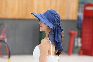Image 1 - 太陽の帽子フェイスネック女性ソンブレロmujer veranoにワイドつば夏バイザーキャップ抗uv chapeu feminino屋外