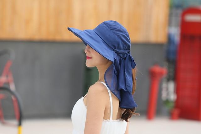 太陽の帽子フェイスネック女性ソンブレロmujer veranoにワイドつば夏バイザーキャップ抗uv chapeu feminino屋外