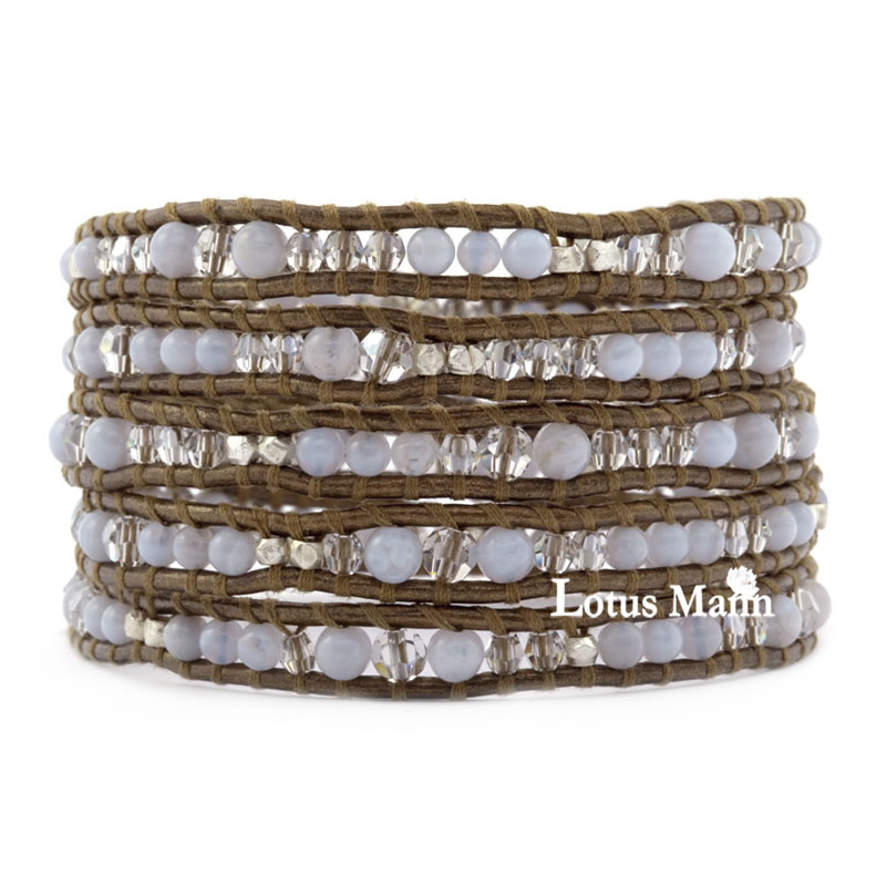 5 wraps blue chalcedony silver beads gold brown leather 5 wraps bracelet birthday gift new arrival usa series red white and blue red coral white lazing 5 wraps leather cord bracelet