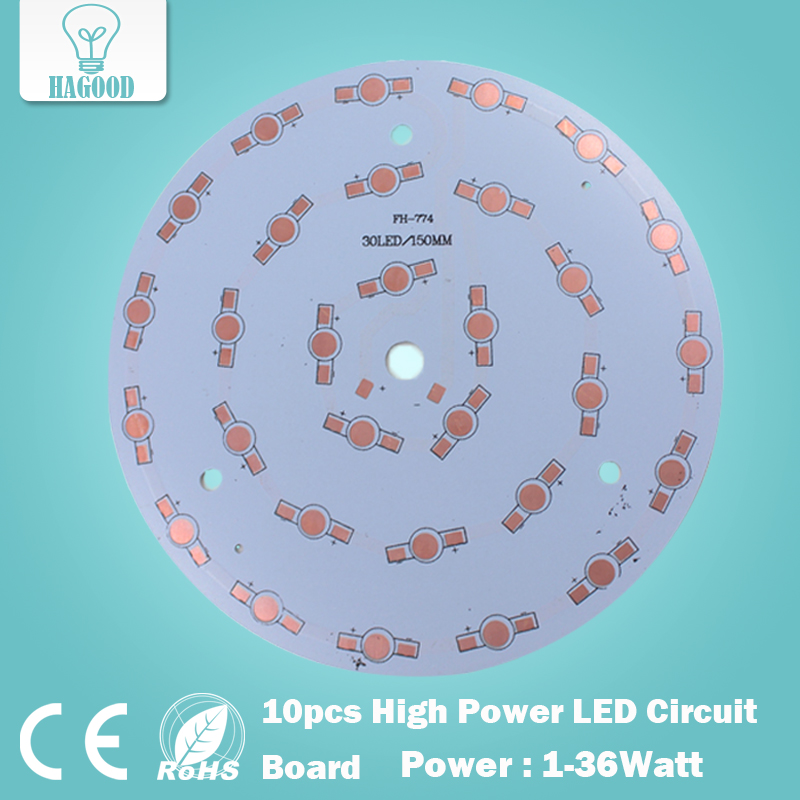 free shipping 10pcs 1W 3W 5W 7W 9W 12W 15W 18W 21W 24W 30W 36W LED Aluminum Plate/ High Power LED Circuit Board / Heat Plate PCB