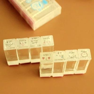 Акриловый кристалл погода дневник смайлики печать 8 шт./компл. 3*9 5 см|seal set|set 3set