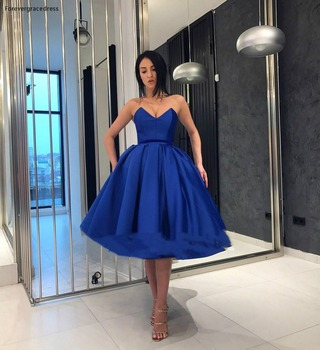Royal Blue Homecoming Dresses 2019 A Line Sweetheart Knee Length Juniors Sweet 16 Graduation Party Gowns Plus Size Custom Made