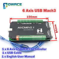 6 Axis NVCM Mach3 USB Port 125KHz Stepper Motor Control Card CNC Controller 12 32VDC