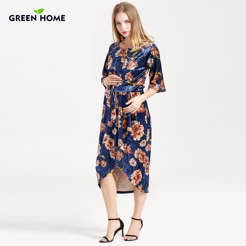 Green Home Breastfeeding Floral Print Winter Design Nursing Dresses Velvet For Pregnant Thicken Comfortable Maternity Clothing цена 2017