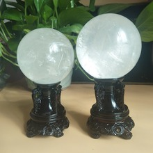 70/80mm natural calcite mineral crystal ball polishing home decoration ball+ wood bracket