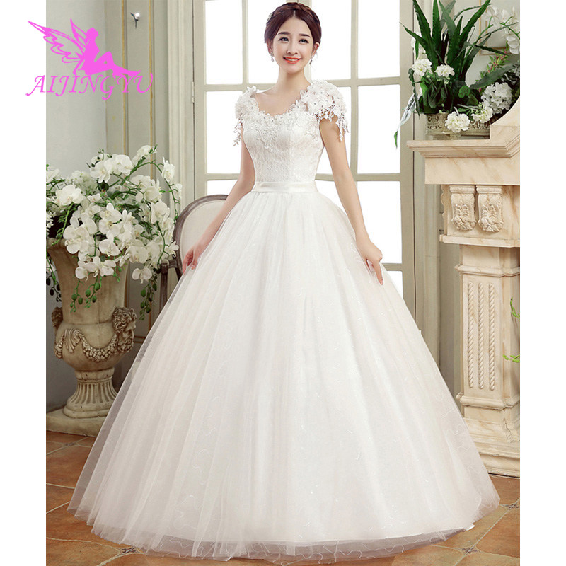 AIJINGYU 2018 Luxury Free Shipping New Hot Selling Cheap Ball Gown Lace Up Back Formal Bride Dresses Wedding Dress FU271