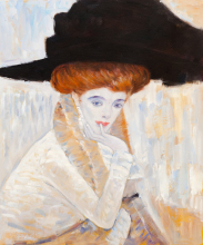Gustav Klimt Oil Paintings Reproductions Black Feather Hat Classic Women Portrait Painting Canvas Art