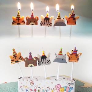 Image 2 - 5 개/대 동물 촛불 케이크 토퍼 동물원 파티 동물 생일 촛불 아이 생일 파티 케이크 촛불 케이크 장식 용품
