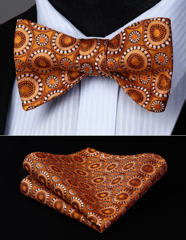 BF807ZS Brown Flower Bowtie Men Butterfly Silk  Self Bow Tie Handkerchief Set