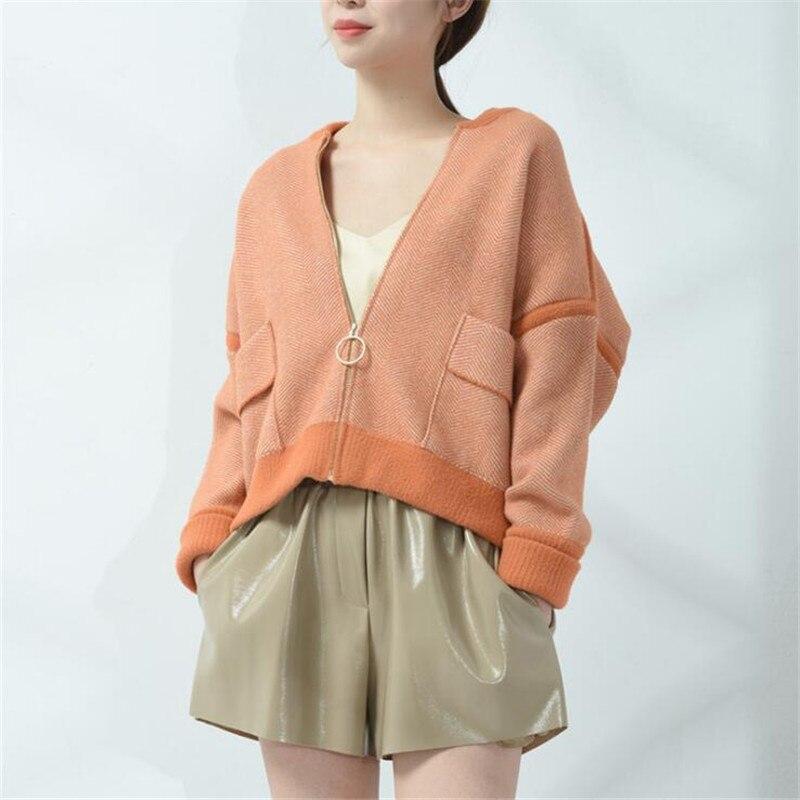 Short Jacket 2018 Autumn New Zipper Long Sleeve Baseball Wool Coat Fashion Women's Knitwear Loose Highwaist Short Coat