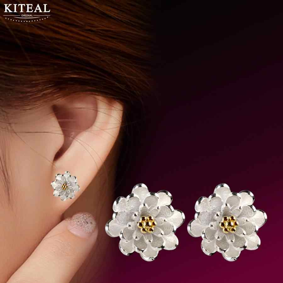 Hot Sale Kiteal wholesale Lotus Cherry blossoms Earrings Accessories 925 jewelry Silver Women Beautiful Luxury Jewelery Gift