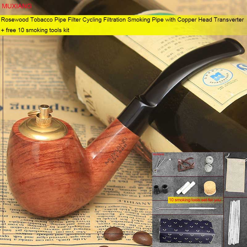 MUXIANG kevazingo wood Smoking Pipe 9mm Activated Carbon Filters Acrylic  Bent Type Mouthpiece Tobacco Pipe for Men's Gift ad0051