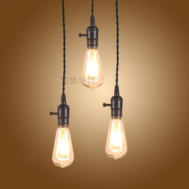 Retro industrial wind Pendant Lamps creative personality 3 heads American cafe restaurant lights plug line Pendant Light contemporary and contracted creative personality retro art glass chandelier cafe restaurant study lamps act the role of milan
