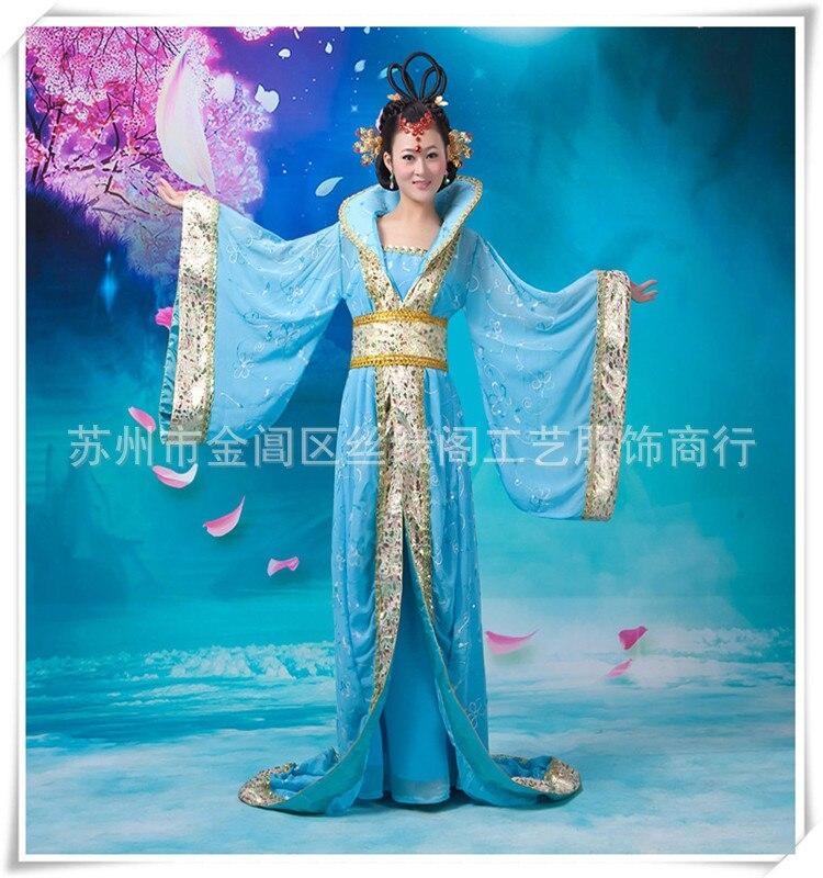 Methodisch Blauw Hot Niet! Nieuwe Chinese Oude Traditionele Infanta Dramaturgisch Kostuum Robe Prinses Jurk Gratis Verzending