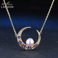 LAMOON 6 5mm 100 Natural Freshwater Pearl Jewelry 925 Sterling Silver Jewelry 14K Yellow Gold Plated