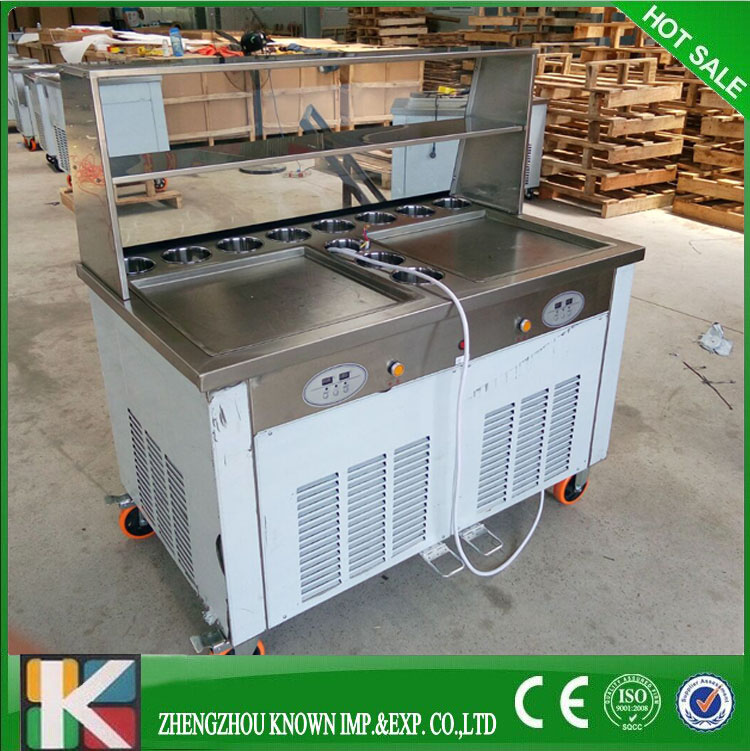 Thailand style double pans roll fry ice cream machineThailand style double pans roll fry ice cream machine