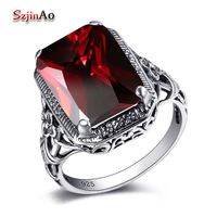 Szjinao Handmade Fashion Luxury Wedding Rings 925 Sterling Silver Gorgeous Red Gem Rings For Women Vintage Jewelry Wholesale