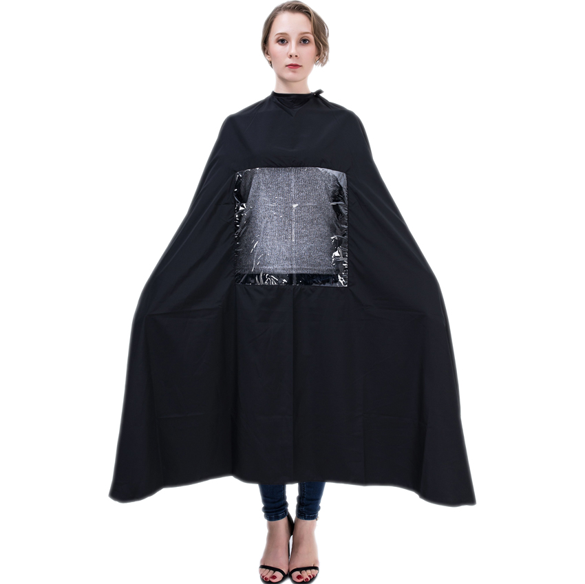 Popular hair cutting cape with a tranparent hairdressing for Design a cape