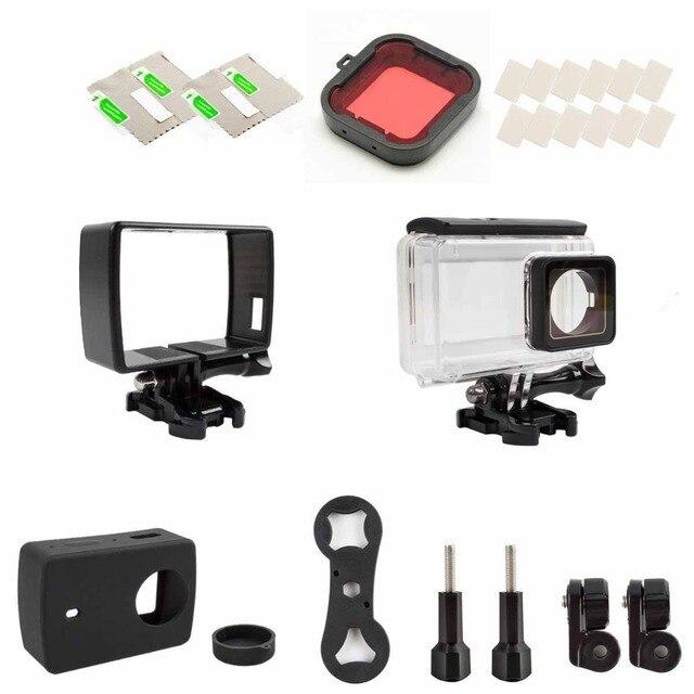 Xiaomi yi 4 K Спорт Камеры Аксессуары Комплект Водонепроницаемый Корпус с Сенсорным Экраном + Пластиковые Стандартный Кадр + Силиконовый Защитный Чехол