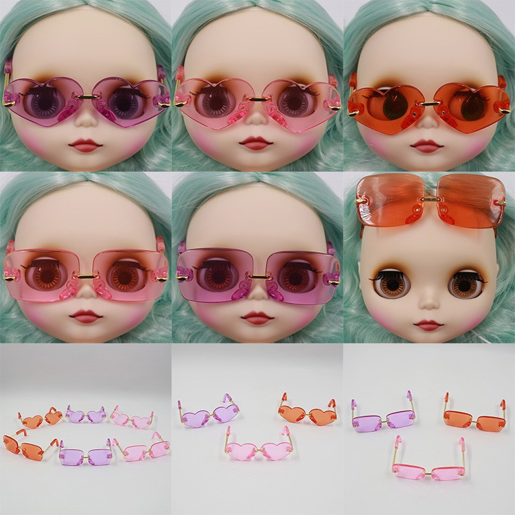 Neo Blythe Doll Heart & Boxes Shaped Glasses 1