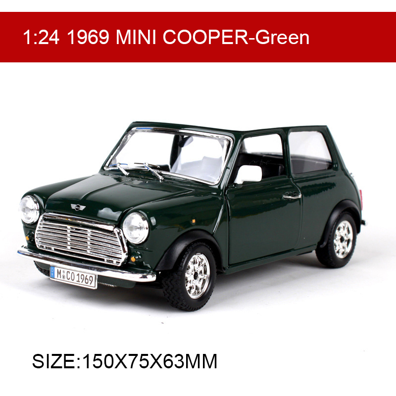 BBUAGO 1:24 MINI 1969 COOPER Diecast Model Car Metal Car Kids Toys Car simulation model For Gift Collection