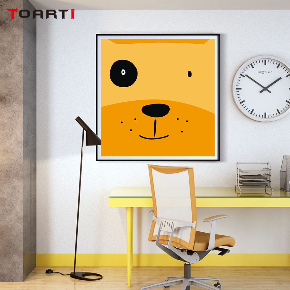 Nordic Cartoon Animal Dog Face Poster And Print Art Canvas Painting ...