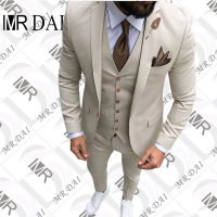 MD 078 Custom Luxury Beige Mens Suit Jacket Pants Formal Dress Men Suit Set Men Wedding Suit for Men Groom Tuxedos Suits