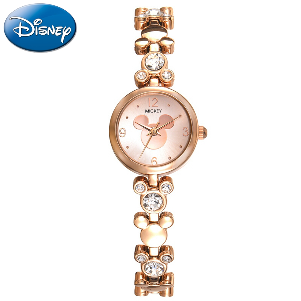Women Bracelet Gold Silver Stainless Steel Fashion Simple Quartz Watch Genuine Disney Mickey Element Style Cute Girls Clock New kassatex kassadesign brights collection bath towel caribbean blue