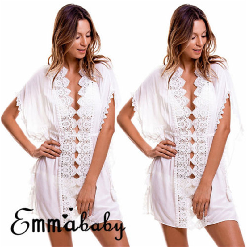 New2018 Emmababy Women Cover Up Summer Lace Crochet Swimwear Beach Dress Bathing Suit US