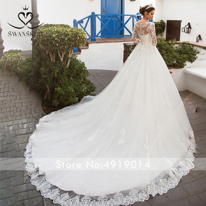 Image 2 - Swanskirt destacável vestido de casamento de manga longa 2020 colher apliques rendas a linha do vintage princesa noiva vestido de noiva noiva k201