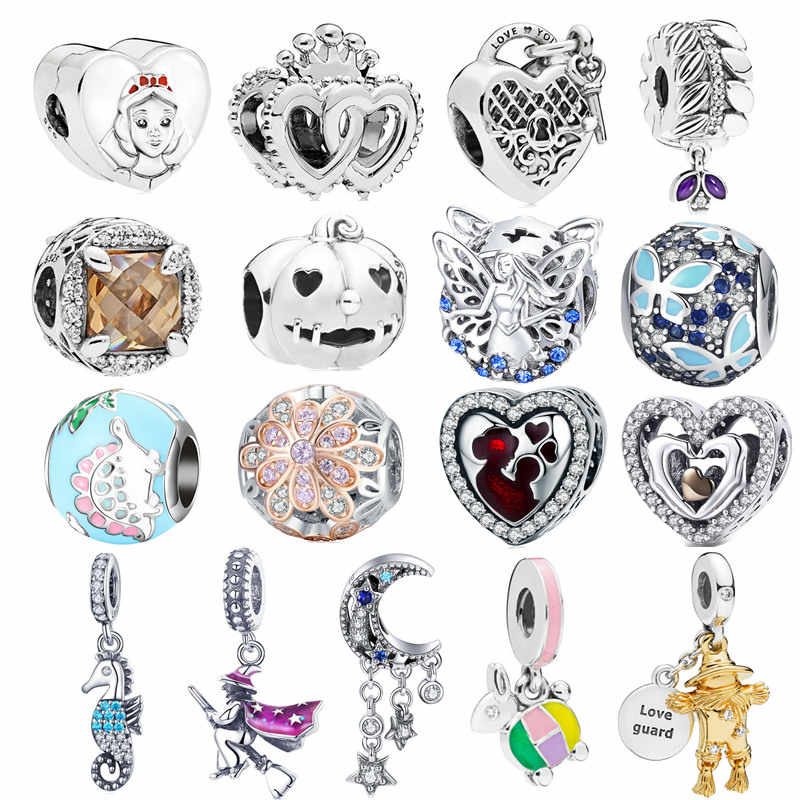 Trendy 925 Sterling Silver Love Guard Scarecrow White Snow Fairy Princess Charms fit Original Pandora Bracelet Pumpkin Beads