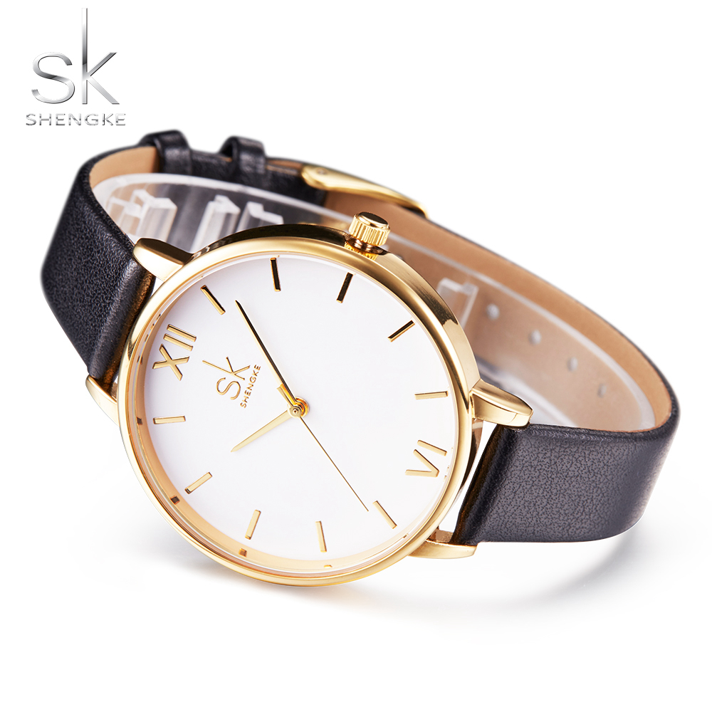Shengke Brand Watch Women Leather Wristwatches Women Dress Watches Casual Quartz Watch Gold Dial Wristwatch 3 Color Montre Femme ...