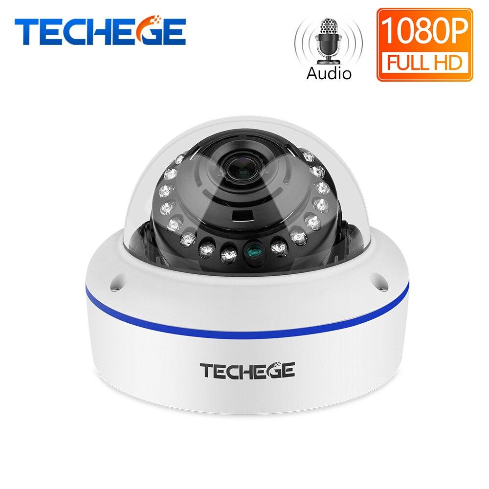 Techege FULL HD 1080P IP Câmera Ao Ar Livre indoor Wired Câmeras IP Onvif PoE Cúpula Câmera de 2mp PoE Câmeras Áudio registro de E-mail de alerta