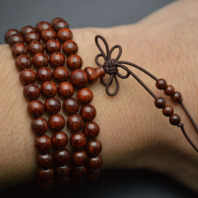 8mm Indian Pterocarpus Santalinus 108 Wood Round Beads Mala Prayer Bracelet or Necklace